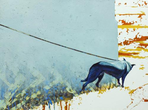 "Paweł Garwol, ""Black dog"" , 75 x 100 cm, 2013"