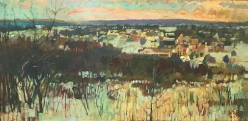 Damian Pacha, Olkusz II, olej, 30 x 60